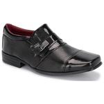 Kit 2 Pares Sapatos Sociais Infantil Masculino Verniz Com 2 Cintos 444 Preto/Preto