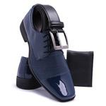 Kit Sapato Social Masculino 701 Azul Cinto E Carteira Com Atacador