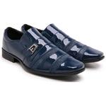 Sapato Social Masculino Moderno 803 Azul Em Verniz