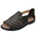 Sandália de Couro Preta com Elástico Linha Conforto - Selten