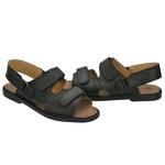 Sandália de Couro Preta com Velcro Linha Conforto - Selten