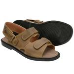 Sandália de Couro Caramelo com Velcro Linha Conforto - Selten