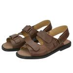 Sandália de Couro Marrom com Velcro Linha Conforto - Selten