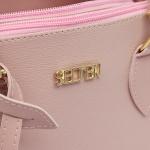 Kit de Bolsa Média + Pequena Com Fivela e Carteira Rosa
