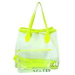 Bolsa Selten Transparente com Neon e Necessaire Verde