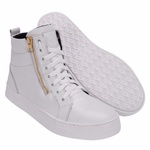Bota Treino Academia Sneaker Fitness Branca em Couro Legítimo - Selten
