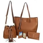 Kit de Bolsa Feminina Marrom Saco com Bolsa Grande com Carteira e Porta Cartão