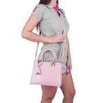 Bolsa Feminina Transversal Media + Bolsa Grande Com Carteira Selten Rosa