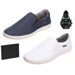 Slip On Masculino Casual kit com 2 Pares Branco e Azul com Carteira e Relógio - Selten