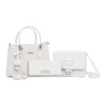 Kit de Bolsa Média + Pequena Com Fivela e Carteira Branca