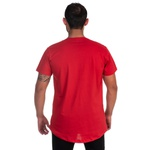 Camiseta Masculina Long Line Caveira Vermelha -Selten