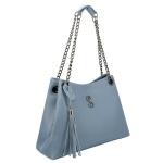Bolsa Lateral Feminina com Alça de Corrente e Necessaire Azul Claro Milão - Selten