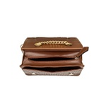 Bolsa Marrom Clutch Pequena de lado Alça de corrente Roma