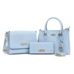 Bolsa Transversal + Bolsa Tampa Kit com Carteira Azul Claro