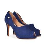 Sandália Peep Toe Nobuck Azul Marinho