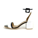 Sandália Salto Quadrado Preta e Branca