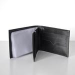 Carteira Couro Liso Preta com Porta Cheque