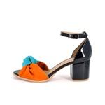 Sandália Salto Quadrado Preta, Azul e Laranja