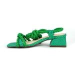 Sandália Salto Médio Couro Verde