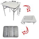 Mesa dobrável de alumínio com tampo de mdf camping 60 x 45cm vira maleta e altura ajustável – Mtx