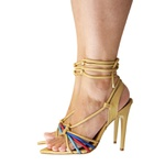Sandalia Eagle Black- strips metalizada Dourado
