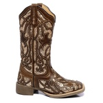 Bota Texana Feminina High Country 7333 Fóssil Café/ Ouro