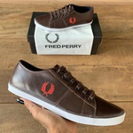 SAPATENIS FRED PERRY COURO MARROM CL