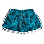 SHORT PRAIA FEMININO LOVE AND GUNS BLUE