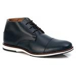Sapato Brogue Premium em Couro Confort Tchwm Shoes Azul Marinho