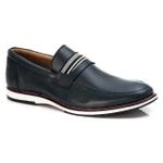 Brogue Premium em Couro Comfort Tchwm Shoes Azul Marinho