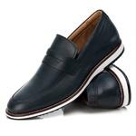Sapato Loafer Premium em Couro Confort Tchwm Shoes Azul Marinho