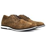 Sapato Brogue Couro Confort Tchwm Shoes Camurça