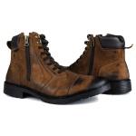 Bota Casual Zíper Tchwm Shoes em Couro Nobuck Castor