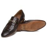 Sapato Loafer Croco Premium em Couro Café