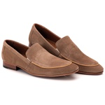 Sapato Loafer Casual Premium em Couro Camurça Nude