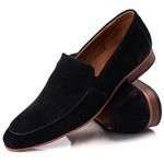 Sapato Loafer Casual Premium em Couro Camurça Preto