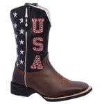 Bota Texana Masculina em Couro USA Estados Unidos Bico Quadrado TexasKing