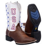 Bota Texana Masculina em Couro Usa Branco Estados Unidos Branco TexasKing
