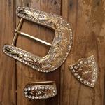 Kit Fivela Feminina Dourada Strass Metal