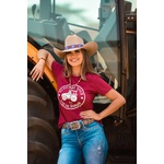 T-Shirt Feminina Power Country Bordô