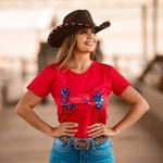 T-Shirt Feminina Power Country Vermelha