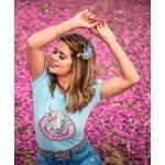 T-Shirt Feminina Power Country Azul Bebê