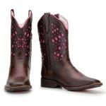 Bota Texana Feminina Bico Quadrado Laser Rosa