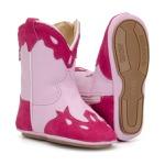 Bota Texana Bebê Menina Couro Rosa Pink