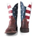 Bota Texana De Bico Quadrado Estados Unidos em Couro