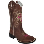 Bota Texana Feminina Hopper Cruz Rosa em Couro TexasKing