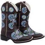 Bota Texana Feminina em Couro Bordado Floral Azul TexasKing