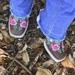 Botina Feminina Rosas em Couro Legítimo Bico Quadrado TexasKing