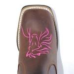 Botina Horse Rosa em Couro Legítimo Bico Quadrado TexasKing