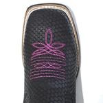 Botina Feminina Black Snake em Couro Legítimo Bico Quadrado TexasKing
